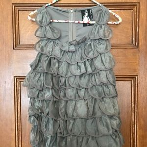 Silver Ruffle Cocktail Dress